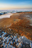 Ice and stone on the frozen Baltic Sea beach Stock Image