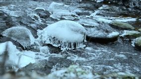 Ice on stones stock footage