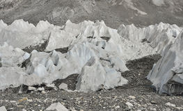 Ice and stones from deep valley of Khumbu Glacier from Everest Base Camp, Himalaya. Nepal Royalty Free Stock Photography