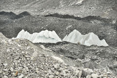 Ice and stones from deep valley of Khumbu Glacier from Everest Base Camp, Himalaya. Nepal Royalty Free Stock Images