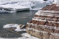 Ice stones shore pattern river Royalty Free Stock Photos