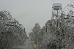 Ice Storm. A section of old Route 66 is partially blocked by fallen tree limbs Stock Photography