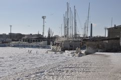 Yacht Club in ice Stock Photo