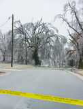 Ice Storm Road Block. A section of road is made impassible by fallen tree limbs Royalty Free Stock Photos