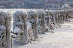 Ice storm , winter,China. Ice storm along the coast of north China Stock Photo