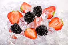 Ice Strawberries and Blackberries Royalty Free Stock Image