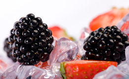 Ice Strawberries and Blackberries Stock Photos