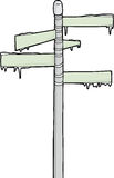 Ice on Street Sign. Hand drawn cartoon blank road sign covered with snow stock illustration