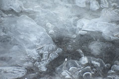 Ice structure macro textured frozen river Royalty Free Stock Images