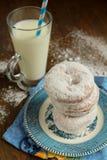Ice sugar powder donut Royalty Free Stock Images
