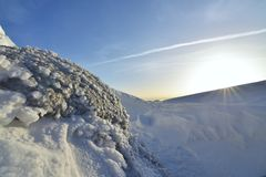Ice with the sun. Winter landscape.  stock photography