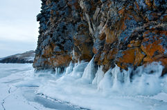 Ice on the surface of Lake Baikal Royalty Free Stock Image