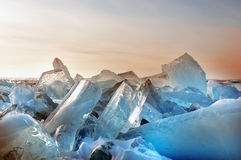 Ice on the surface of Lake Baikal Royalty Free Stock Photos