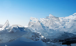 Ice on the surface of Lake Baikal Stock Photo