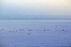 Ice surface of Plescheevo lake, Russia Stock Photos