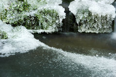 Ice on surface of pond. Scenic view of ice crystals on surface on pond Stock Image