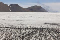 Ice surface of Skalafelllsjokull glacier tongue in Iceland Stock Photos