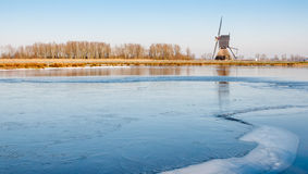 Ice surface on a small lake in the Netherlands Royalty Free Stock Images