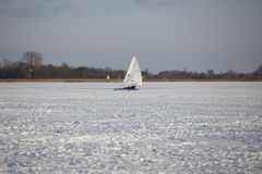 Ice surfing in the netherlands Royalty Free Stock Photo