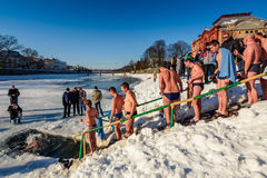 Ice swimming on Epiphany Day Stock Image