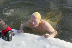 Ice swimming funs Royalty Free Stock Photography