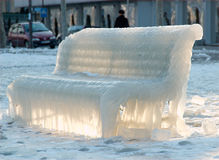 Ice Symphony N1. The bench at the Geneva lake border covered with ice Royalty Free Stock Photo