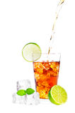 Ice Tea. Cold glass of iced tea with ice cubes, fresh mint and lime  on white background Stock Photography