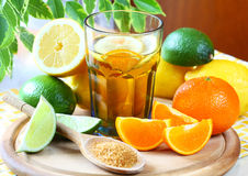 Ice tea. Drink with lemon, lime and orange Stock Photos
