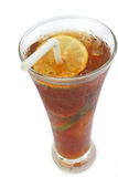 Ice tea. Tropical drink, iced tea with lime as garnish royalty free stock photo