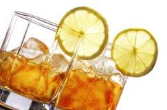 Ice tea. With lemon islate on white Royalty Free Stock Photo