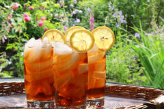 Ice tea. Summer lemon ice tea in the garden Stock Photo