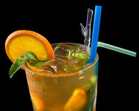 Ice tea with citrus and grenadine Royalty Free Stock Photo
