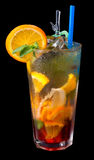 Ice tea with citrus and grenadine Stock Photo