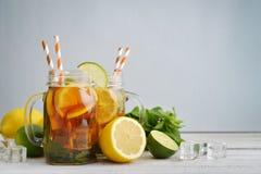Ice tea with fresh lemons Stock Images