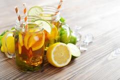 Ice tea with fresh lemons Stock Photo