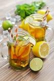 Ice tea with fresh lemons Stock Image