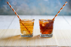 Ice Tea and Ice Coffee. On white background Royalty Free Stock Image
