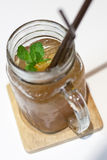 Ice tea in jar mug. Royalty Free Stock Photo