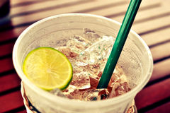 Ice tea with lemon cocktail fruit Royalty Free Stock Photos