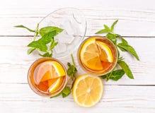 Ice tea with lemon. Royalty Free Stock Image