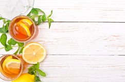 Ice tea with lemon. Royalty Free Stock Image
