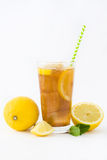 Ice tea with lemon. Isolated photo Royalty Free Stock Photos