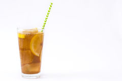 Ice tea with lemon. Isolated photo Royalty Free Stock Images