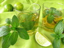 Ice tea with lemon mint Stock Photography