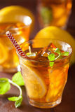 Ice tea with lemon and mint on dark rustic background Stock Photos