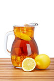 Ice tea with lemon pitcher Stock Photography