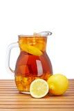 Ice tea with lemon pitcher Stock Photography