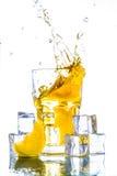 Ice tea with lemon splash Stock Images