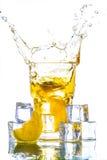 Ice tea with lemon splash Royalty Free Stock Photography