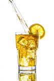 Ice tea with lemon splash Stock Image